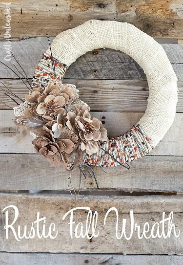 DIY Fall Wreath: Rustic Burlap and Yarn Wreath