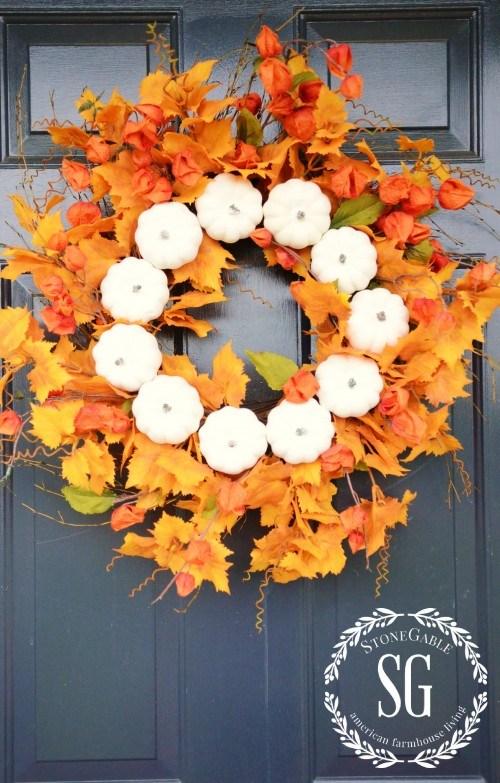 DIY Fall Wreath: White Pumpkin Wreath