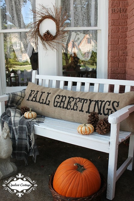 DIY Fall Porch Decorating Ideas: Burlap Pillow Bench