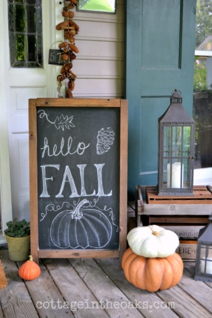 DIY Fall Porch Decorating Ideas: Chalkboard Welcome Sign