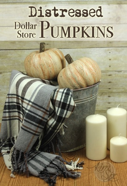 DIY Fall Porch Decorating Ideas: Distressed Dollar Store Pumpkins
