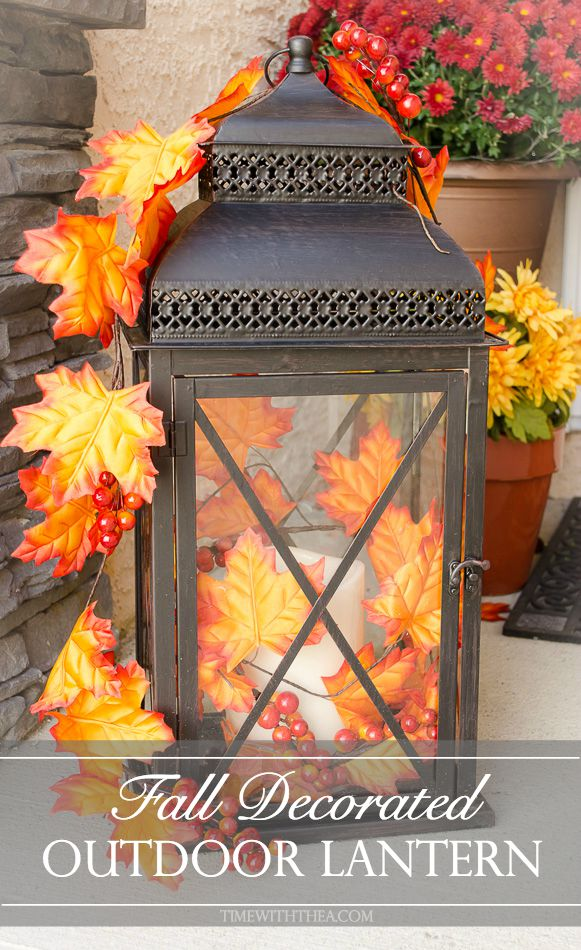 DIY Fall Porch Decorating Ideas: Fall Decorated Outdoor Lantern