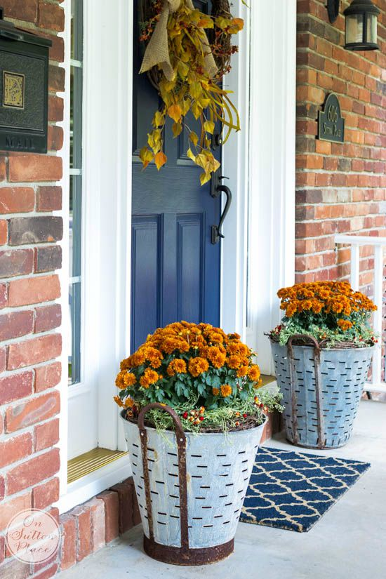 DIY Fall Porch Decorating Ideas: Fall Mums in Olive Buckets
