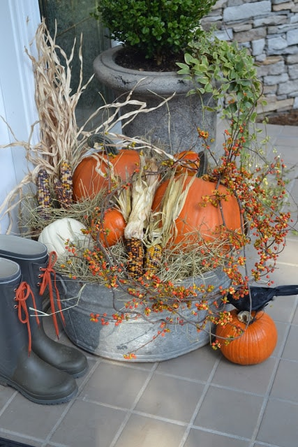 DIY Fall Porch Decorating Ideas: Harvest Display