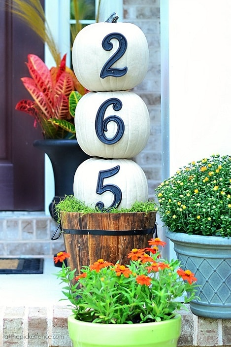 DIY Fall Porch Decorating Ideas: House Numbers Pumpkin Topiary