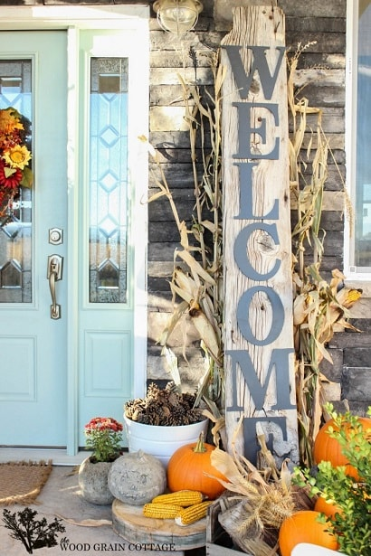 DIY Fall Porch Decorating Ideas: Huge Front Porch Welcome Sign