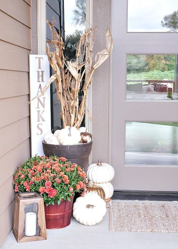 DIY Fall Porch Decorating Ideas: Rustic Metallic Fall Porch