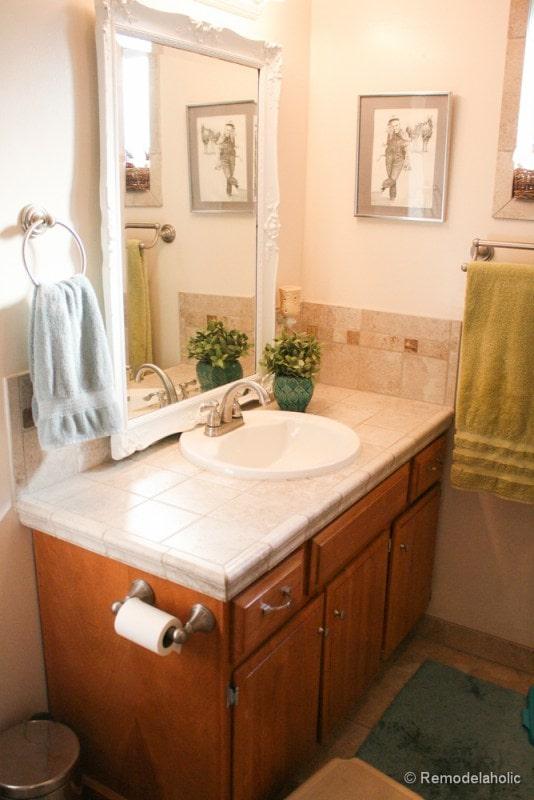 Bathroom remodel ideas: Single Sink To Double Sink before