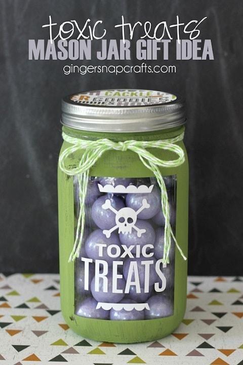 Halloween mason jar gift ideas: Toxic Treats Mason Jar Gift