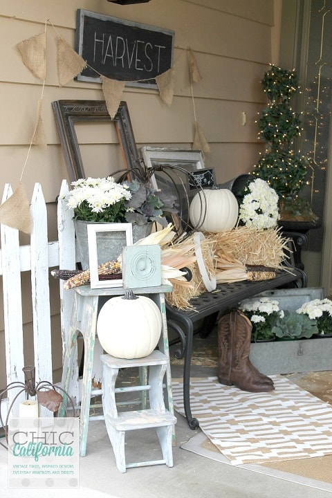DIY Fall Porch Decorating Ideas: Vintage Harvest Fall Porch Decor