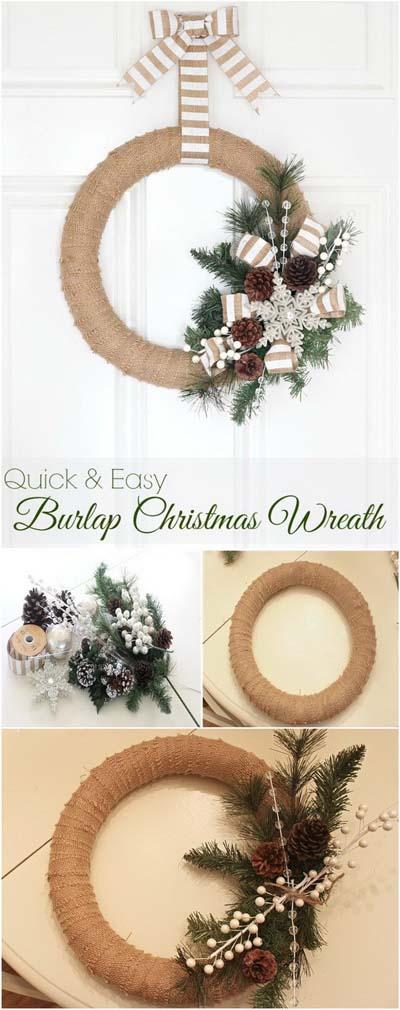 DIY Christmas Wreaths: Burlap Christmas Wreath