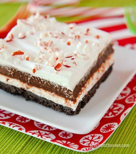 No Bake Christmas Desserts: Chocolate And Peppermint Striped Delight