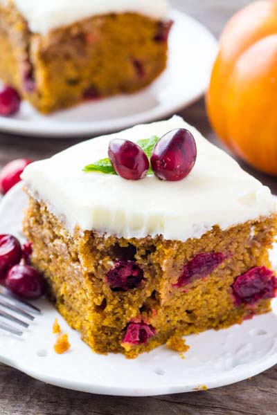 Cranberry Dessert Recipes: Cranberry Pumpkin Cake with Cream Cheese Frosting