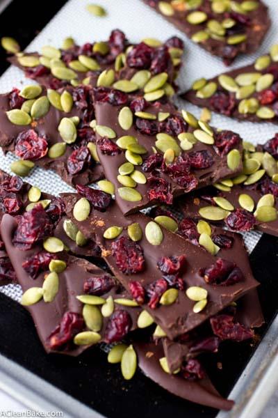 Cranberry Dessert Recipes: Cranberry Pumpkin Seed Dark Chocolate Bark