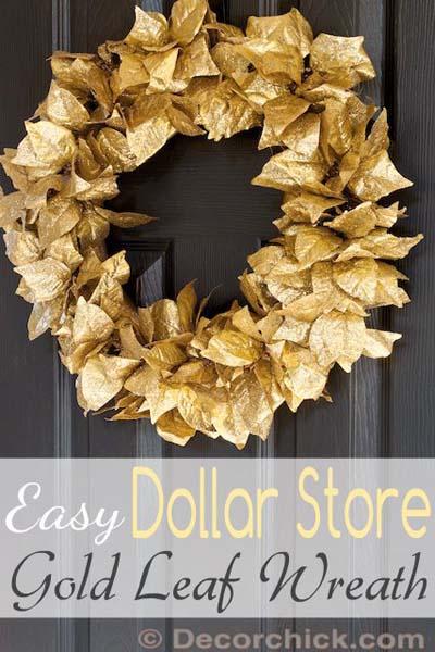 DIY Christmas Wreaths: Dollar Store Christmas Gold Leaf Wreath