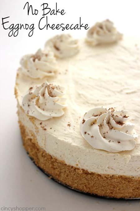 No Bake Christmas Desserts: No Bake Eggnog Cheesecake