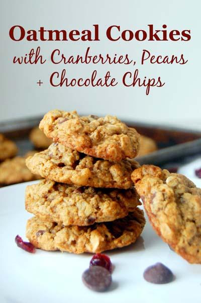 Cranberry Dessert Recipes: Oatmeal Cranberry Pecan Cookies