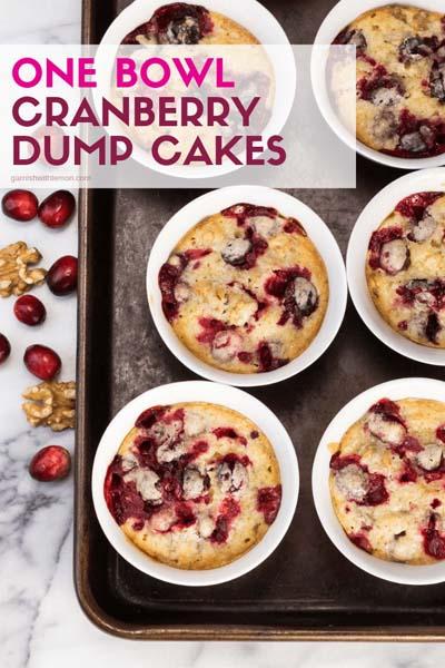 Cranberry Dessert Recipes: One Bowl Mini Cranberry Dump Cakes