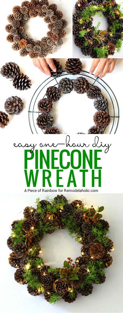 DIY Christmas Wreaths: One Hour Pinecone Wreath