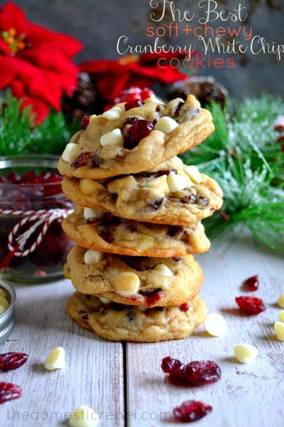Cranberry Dessert Recipes: Soft & Chewy Cranberry White Chocolate Chip Cookies