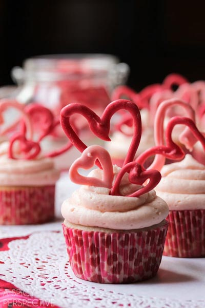 Valentines Day Cupcakes and Valentines Desserts: Cherry Buttermilk Cupcakes with Cherry Buttercream Frosting