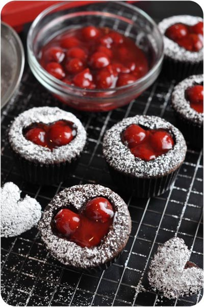 Valentines Day Cupcakes and Valentines Desserts: Cherry Heart Cupcakes