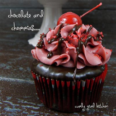 Valentines Day Cupcakes and Valentines Desserts: Chocolate Covered Cherry Cupcakes