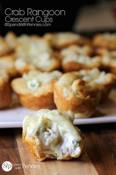 Party Snack Ideas & Party Appetizers: Crab Rangoon Crescent Cups