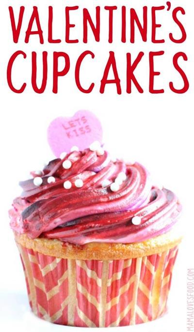 Valentines Day Cupcakes and Valentines Desserts: Galaxy Swirl Valentines Cupcakes