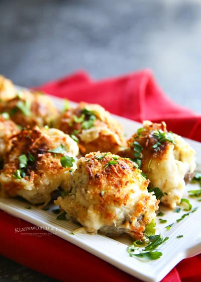 Party Snack Ideas & Party Appetizers: Garlic Parmesan Clam Stuffed Mushrooms