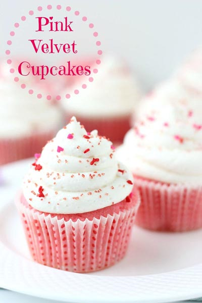 Valentines Day Cupcakes and Valentines Desserts: Pink Velvet Cupcakes