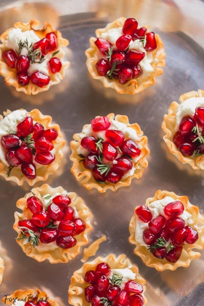 Party Snack Ideas & Party Appetizers: Pomegranate Goat Cheese Bites