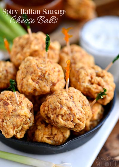 Party Snack Ideas & Party Appetizers: Spicy Italian Sausage Cheese Balls