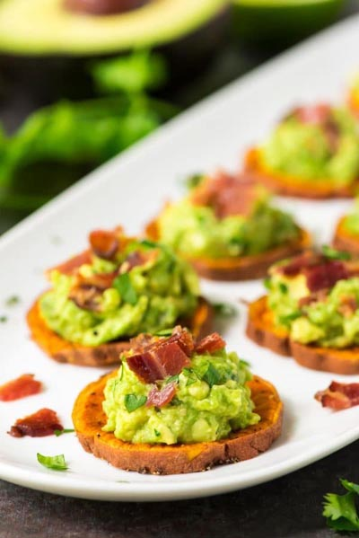 Party Snack Ideas & Party Appetizers: Sweet Potato Bites with Avocado and Bacon