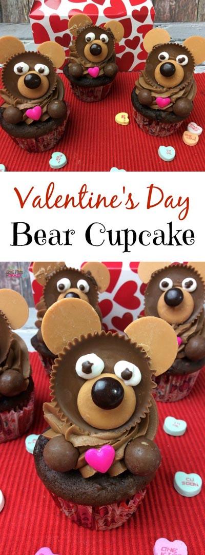 Valentines Day Cupcakes and Valentines Desserts: Valentine's Day Bear Cupcake Recipe