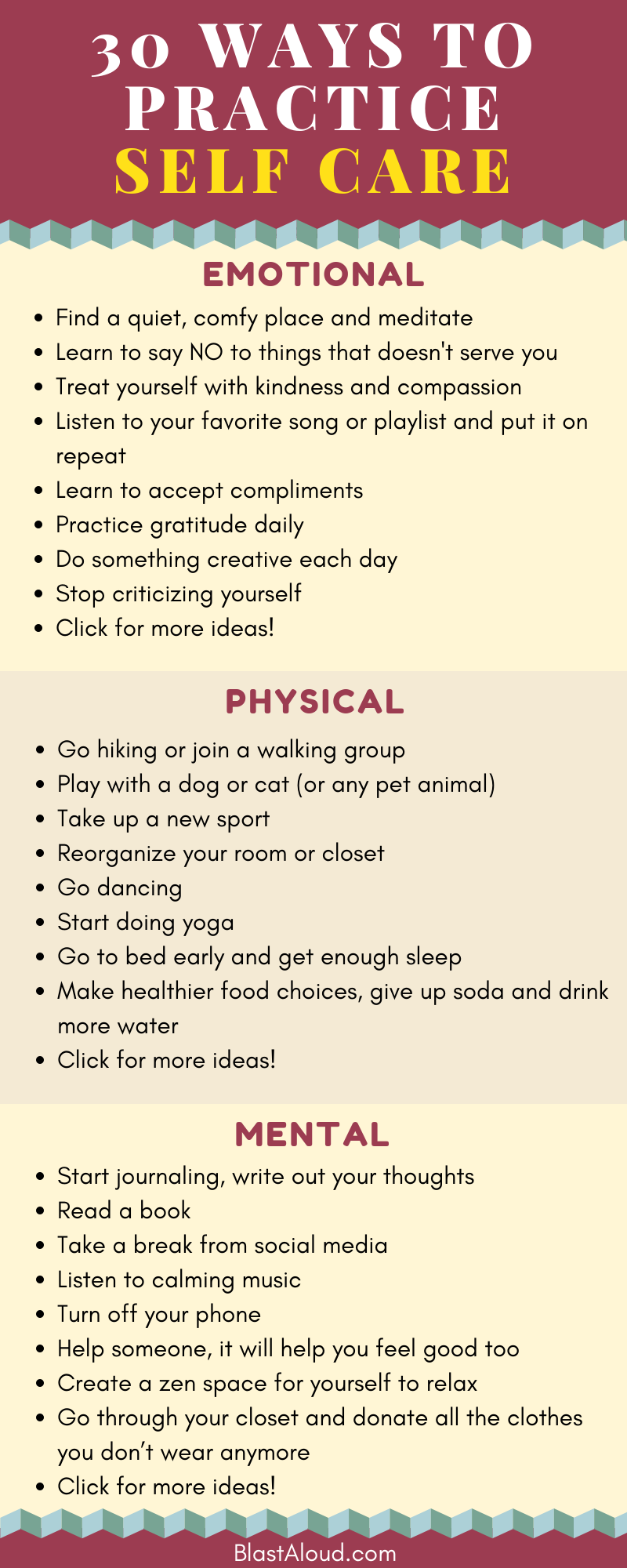 30 Ways to practice self care