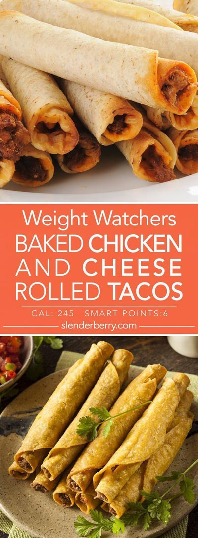 Weight Watchers Recipes With SmartPoints: Baked Chicken And Cheese Rolled Tacos