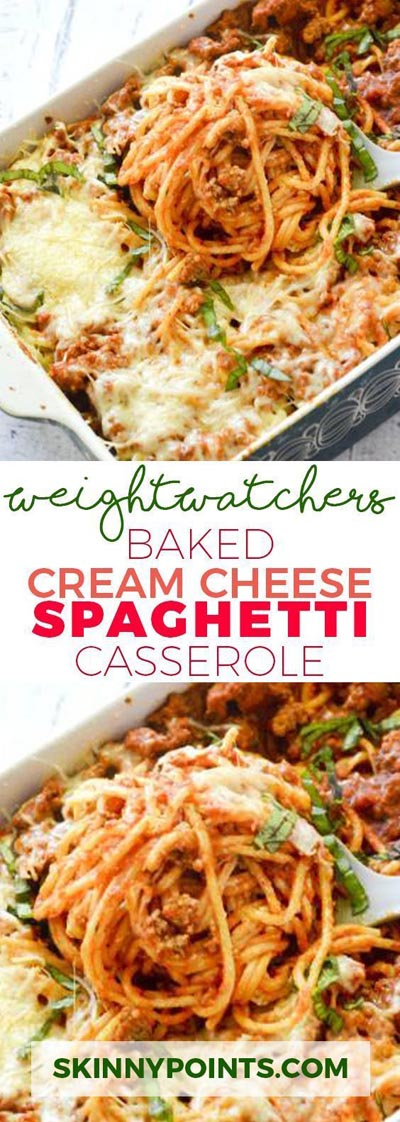 Weight Watchers Recipes With SmartPoints: Baked Cream Cheese Spaghetti Casserole