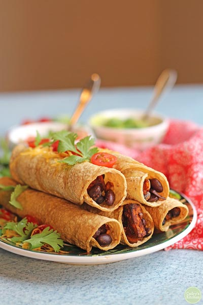 Healthy Super Bowl Appetizers: Baked Taquitos With Sweet Potatoes