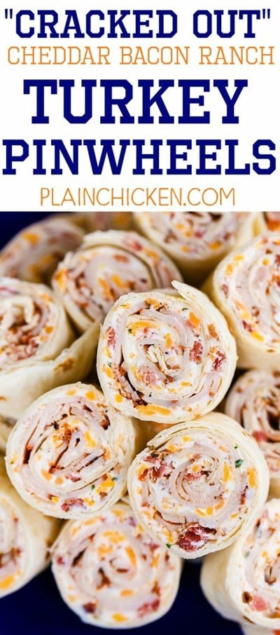 Pinwheel Appetizers & Pinwheel roll ups: Cracked Out Turkey Pinwheels
