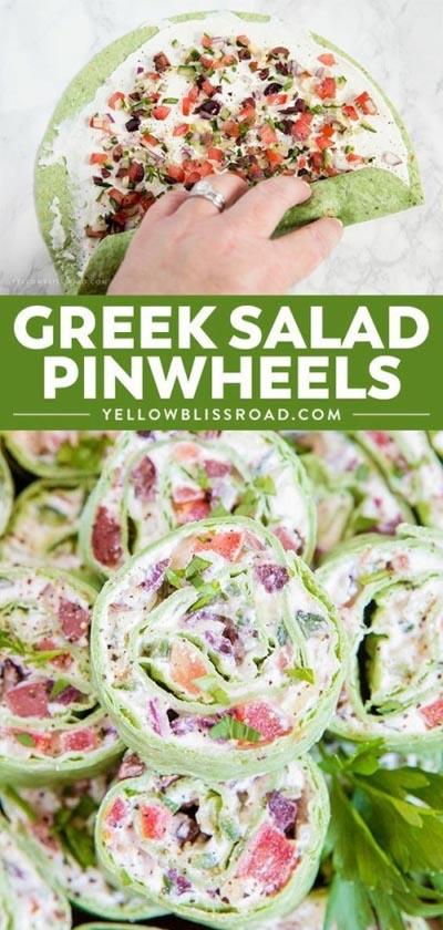 Pinwheel Appetizers & Pinwheel roll ups: Greek Salad Pinwheels