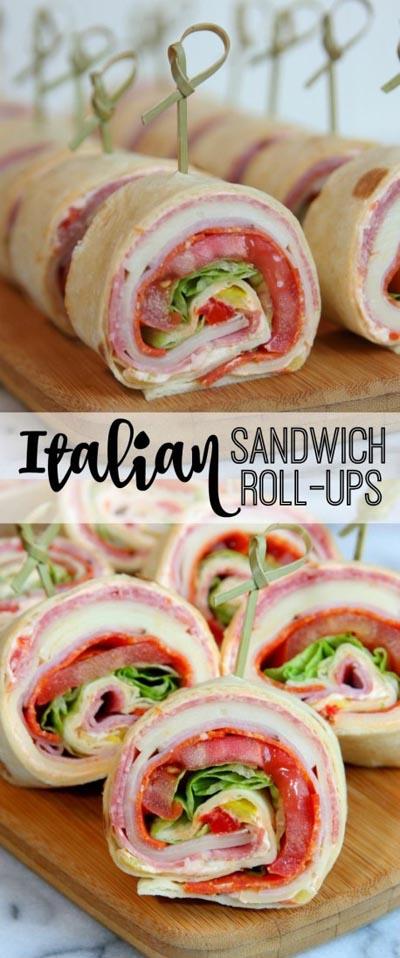 Pinwheel Appetizers & Pinwheel roll ups: Italian Sandwich Roll-Ups