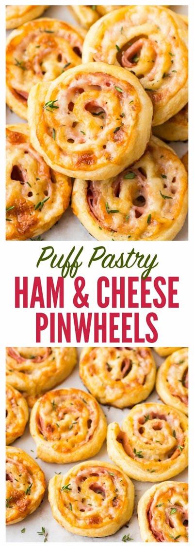 Pinwheel Appetizers & Pinwheel roll ups: Puff Pastry Ham & Cheese Pinwheels
