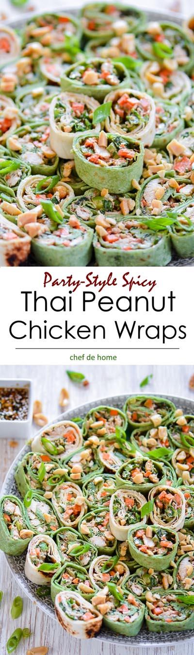 Pinwheel Appetizers & Pinwheel roll ups: Thai Peanut Chicken Roll Ups