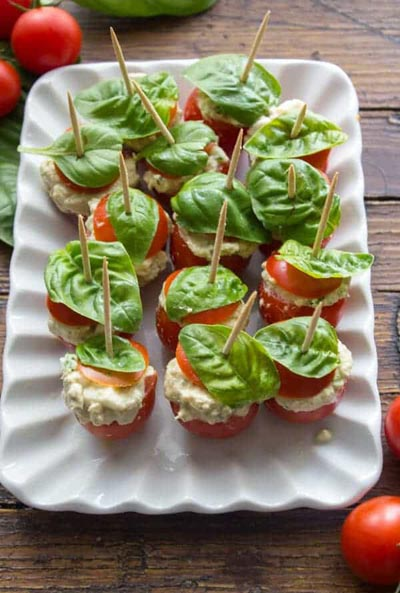 Healthy Super Bowl Appetizers: Tuna Mozzarella Stuffed Cherry Tomatoes