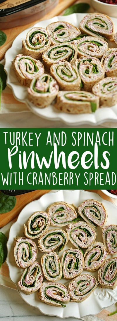 Pinwheel Appetizers & Pinwheel roll ups: Turkey Pinwheels with Cranberry Spread