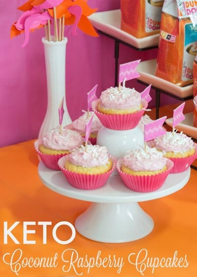 Keto Valentines Day Treats: Keto Coconut Raspberry Cupcakes