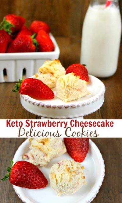 Keto Valentines Day Treats: Keto Low Carb Strawberry Cheesecake Cookies