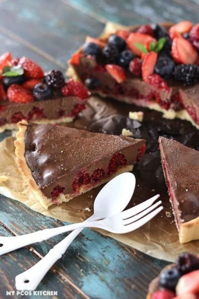 Keto Valentines Day Treats: Raspberry Chocolate Tart