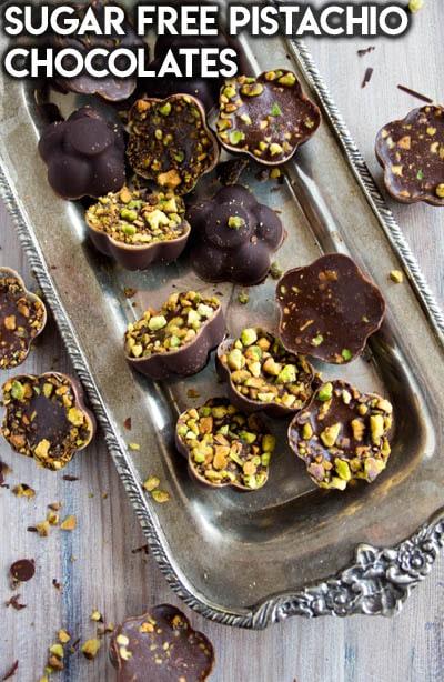 Keto Chocolate Dessert Recipes: Sugar Free Pistachio Chocolates